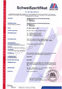 Zertifikat-Schweisskontrolle